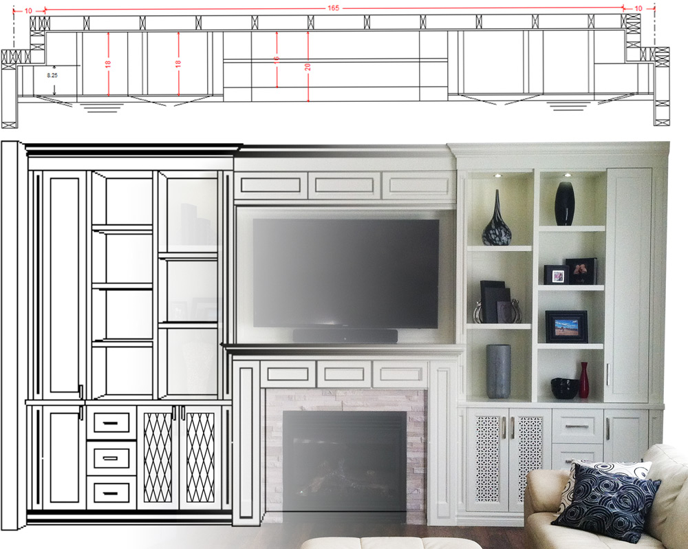 cabinet line drawing